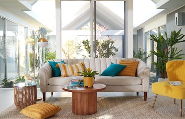 bright well-decorated living room