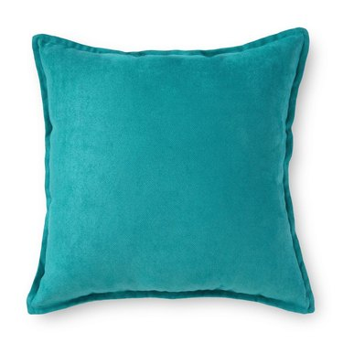 blue faux suede throw pillow
