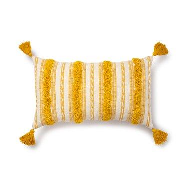 yellow tufted lumbar pillow
