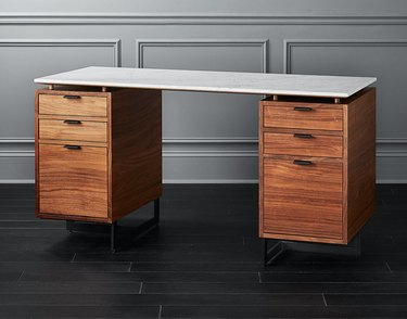 walnut and marble desk