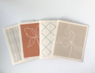 four swedish dish cloths in different patterns
