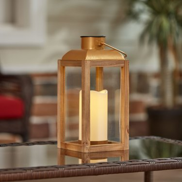 Better Homes & Gardens Gold Wood and Glass Solar Powered Lantern