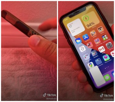 hand tapping back of iphone hack