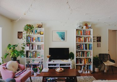 living room space with pink chair, two shelves of books, and television