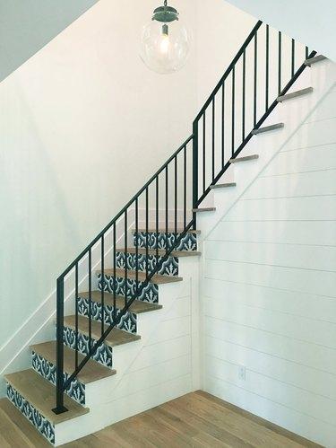 farmhouse hallway lighting in a stairwell