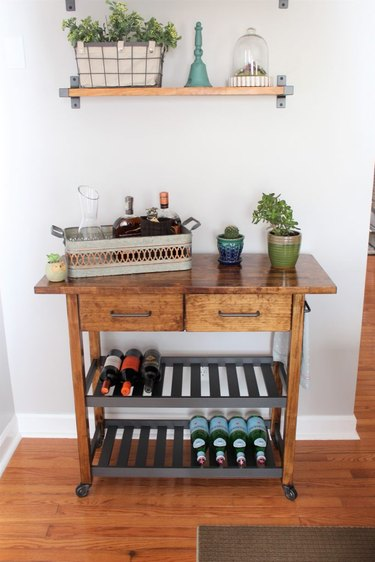 IKEA wood kitchen cart with farmhouse decor
