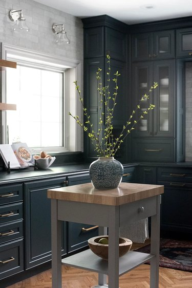 gray kitchen cart in classic blue and gray kitchen