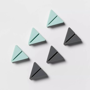 triangle cable clips in blue and gray