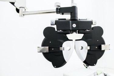 black and white eye exam equipment
