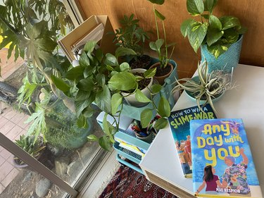 Books by Mae Respicio on her desk by plants