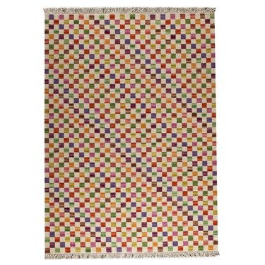 checkered handwoven red and orange area rug