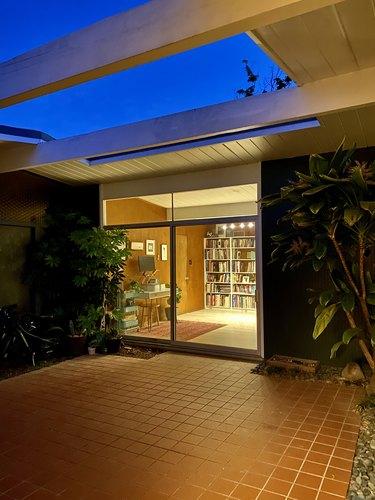 Mae Respicio's writing nook and library at night
