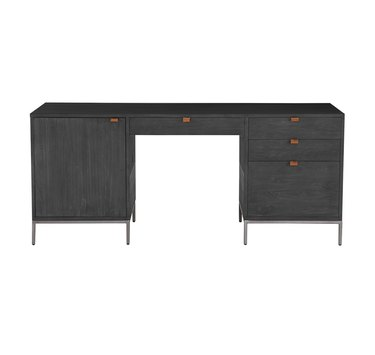 Black wash poplar with metal legs and leather pulls