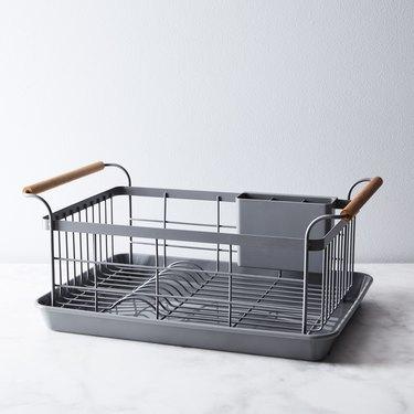 Yamazaki Home Wood-Handled Dish Rack in Food52 Grey