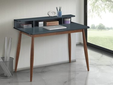 Amazon Roundhill Furniture Roskilde Storage Wood Office Desk Gray/Blue
