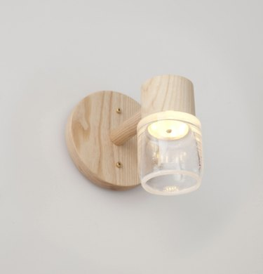 Circlet Single Sconce Clear Blown Glass Wood Led Lighting Contemporary,