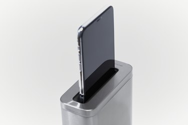 simplehuman cleanstation with smartphone inside it