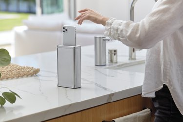 simplehuman cleanstation on countertop near sink
