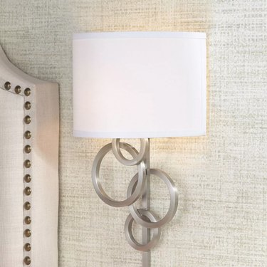 Target Possini Euro Design Modern Wall Lamp Brushed Nickel Plug-In Light Fixture