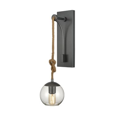 Overstock Haute Collar 1-Light Wall Sconce in Pewter and Natural Rope
