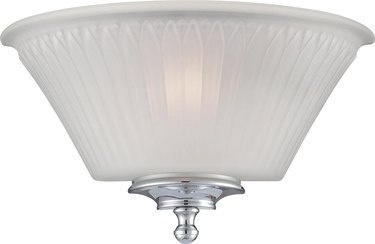 Teller One Light Wall Sconce with Frosted Glass, Polished Chrome