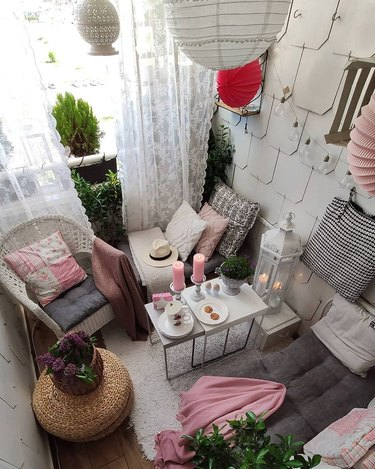 pink, white, and black balcony