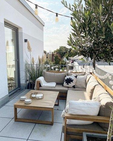 corner sofa on balcony