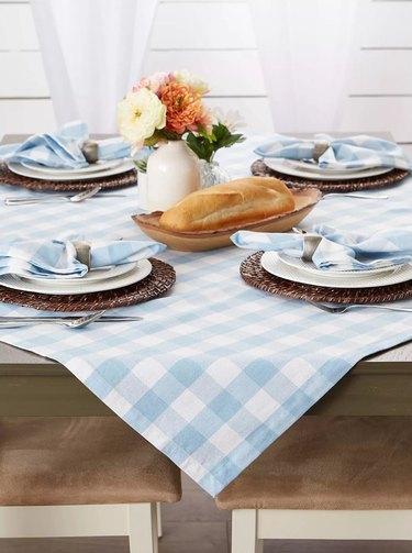 "Design Imports 40"" Cotton Check Table Topper Blue"