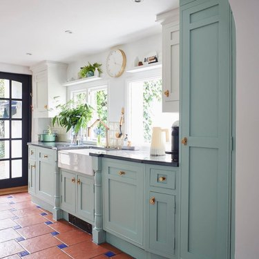 duck egg blue and white two tone chalk painted kitchen cabinets
