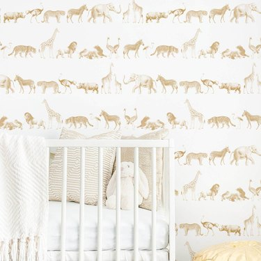 safari nursery with animal wallpaper