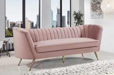 wayfair way day pink velvet tufted sofa