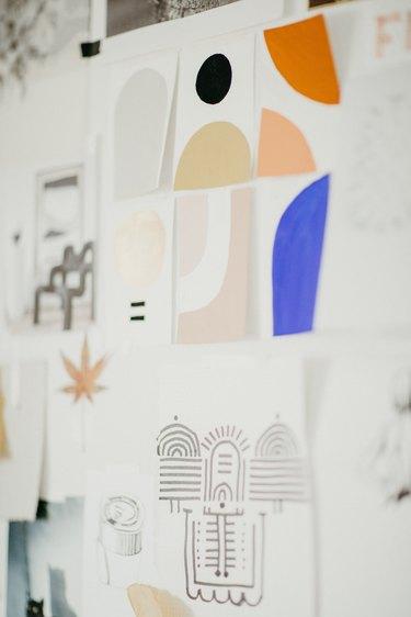 Sofia Shu art studio process sketches on wall