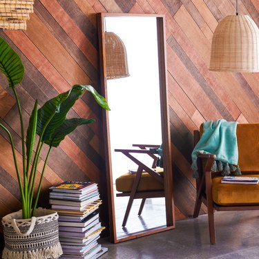 Flower Home Wood Rectangle Mirror Brown by Drew Barrymore