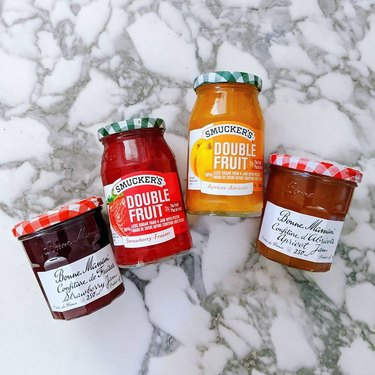 different types of jam on countertop
