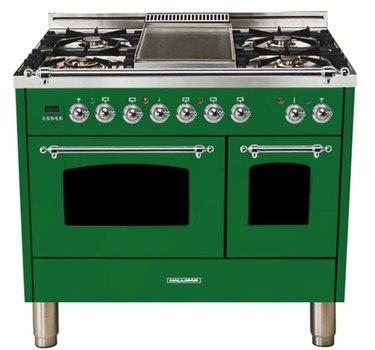 emerald green duel fuel double oven range