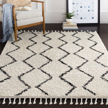 black and white patterned rug near chair and books, plant, and framed art