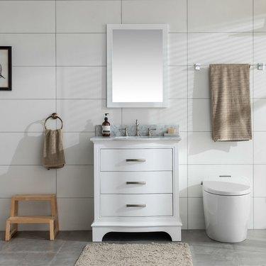 wayfair way day white three-drawer bathroom vanity