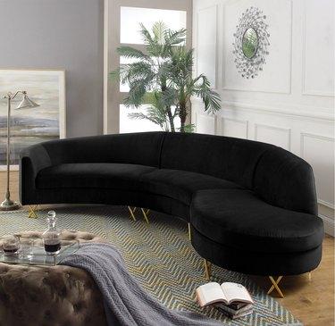 wayfair way day black velvet modular corner sectional