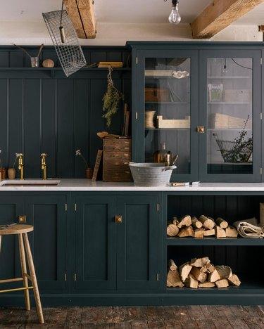 dark green rustic kitchen