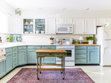 blue and white chalk painted kitchen