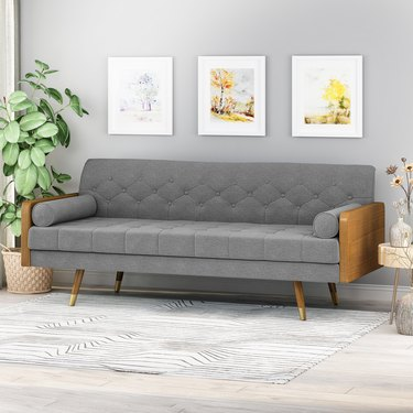Demuir Mid Century Modern Tufted Fabric Sofa with Rolled Accent Pillows