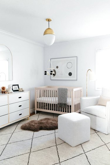 all white gender neutral nursery