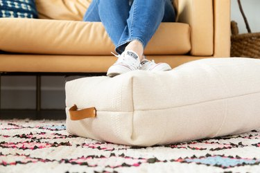 IKEA Hack Floor Pillow using SORTSO rugs