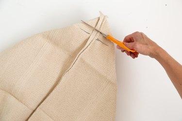 Cutting an IKEA to make a pillow