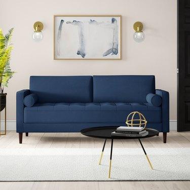 wayfair way day navy square arm sofa