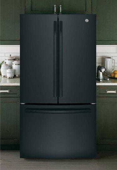 wayfair way day black refrigerator in green kitchen