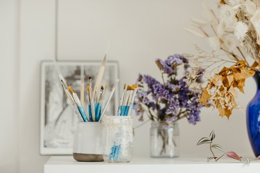 Sofia Shu art studio close-up of paintbrushes