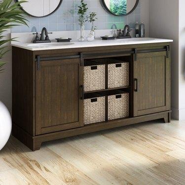 wayfair way day dark wood two-sink bathroom vanity