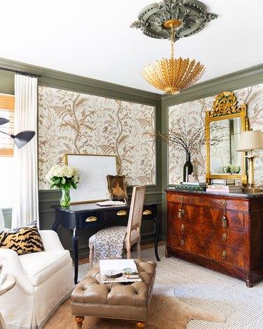 brass chandelier in opulent vintage inspired office