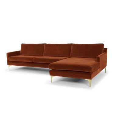 """AllModern Jasper 119"""" Wide Velvet Sofa & Chaise"""